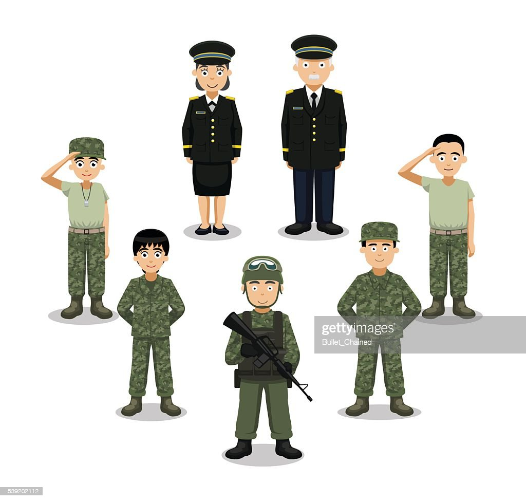 Military Characters Cartoon Vector Illustration