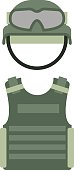 Military clothing uniform isolated on a white background army green