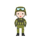 military, cute character professional set, flat design
