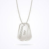 Military dog tags isolated on white, memorial day