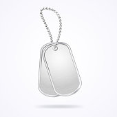 Military dog tags isolated on white