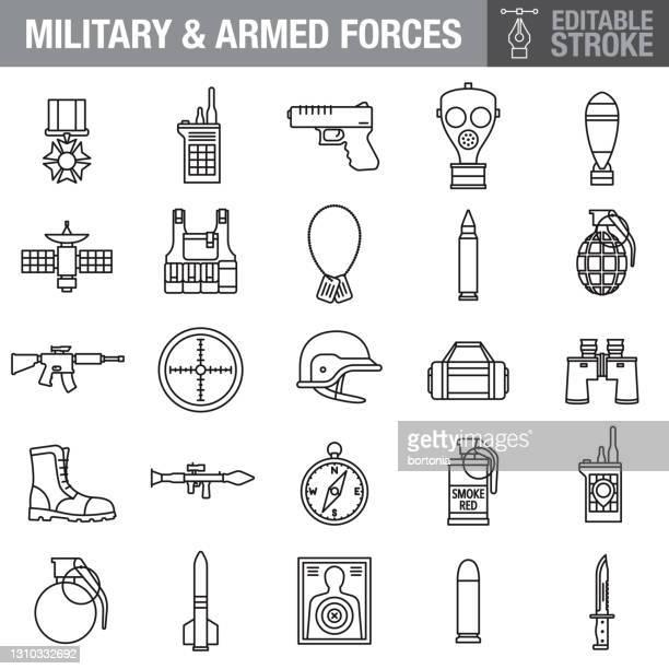 military editable stroke icon set - army helmet stock illustrations