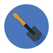 Military entrenching tool icon in flat style isolated on whit