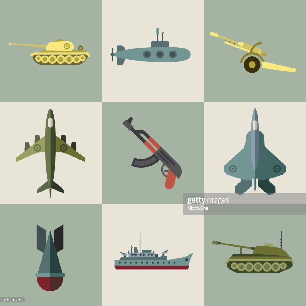 Military equipment and weaponry flat icons