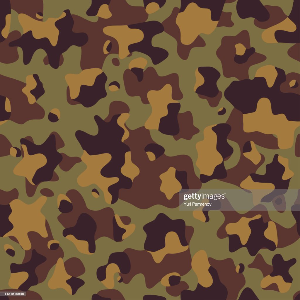Military fabric or hunting camouflage background. Seamless camo pattern. Brown color camouflage. Vector illustration.