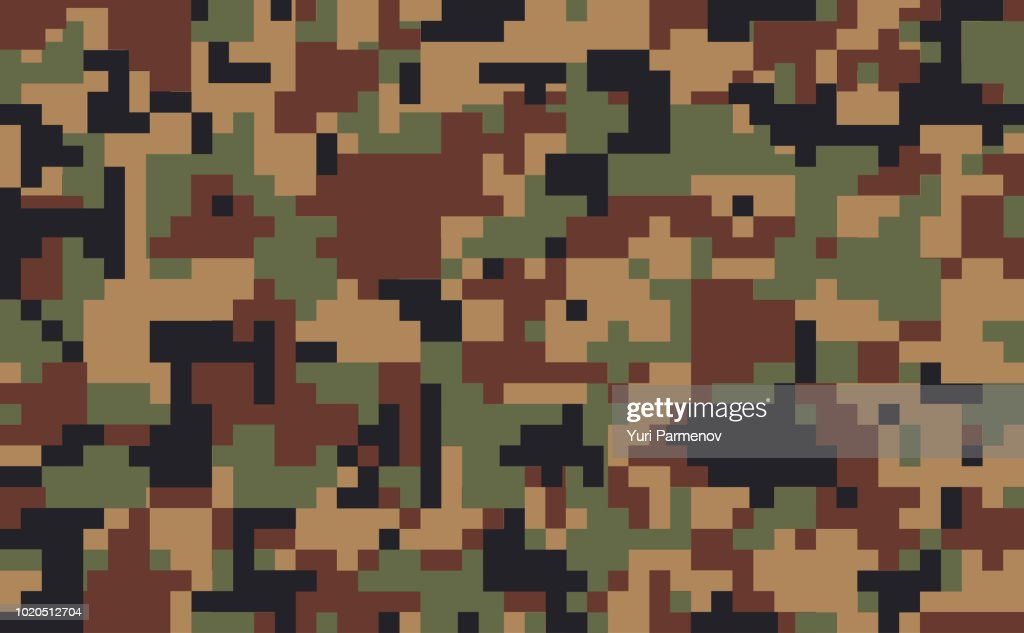 Military fabric or hunting pixel camouflage background. Seamless camo pattern. Brown, beige color camouflage. Vector illustration.