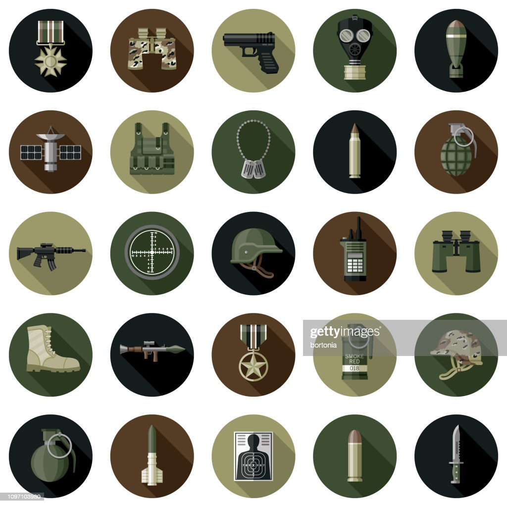 Military Flat Design Icon Set