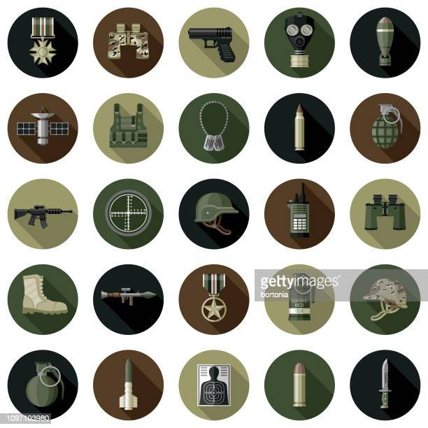 military flat design icon set - military stock illustrations
