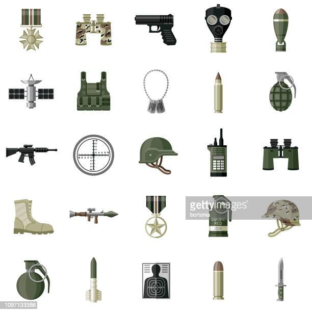 military flat design icon set - military stock illustrations, clip art, cartoons, & icons