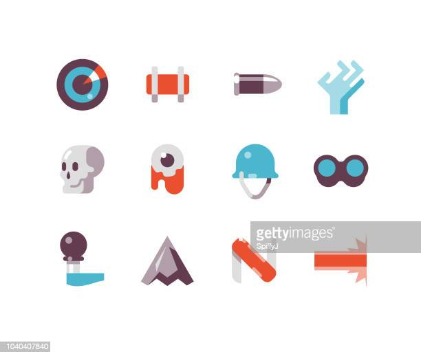 military flat icons - army helmet stock illustrations, clip art, cartoons, & icons