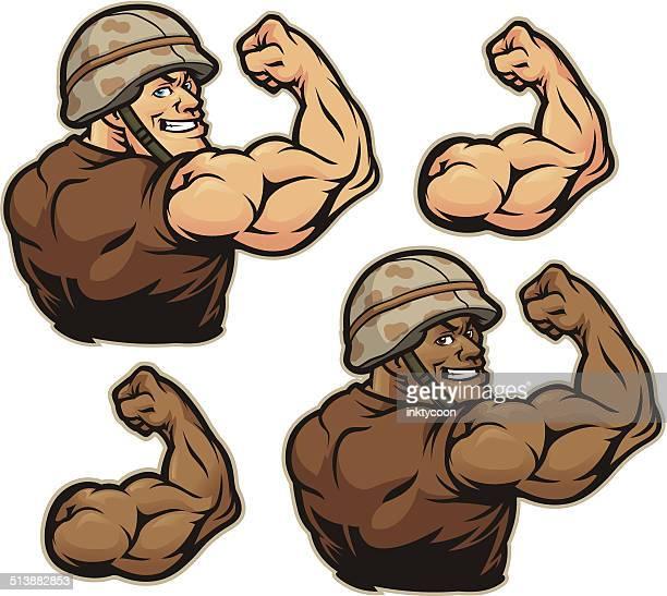 military flex kit - bicep stock illustrations, clip art, cartoons, & icons