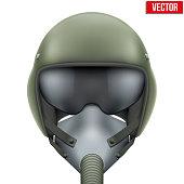 Military flight fighter pilot helmet. Vector