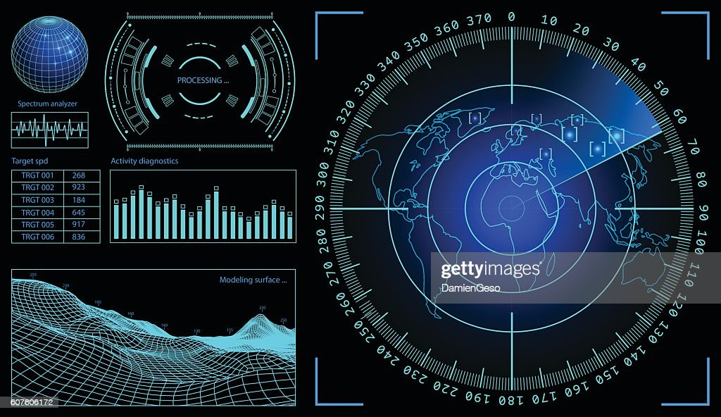 Military green radar. Wireframe landscape . Screen with target. Futuristic HUD