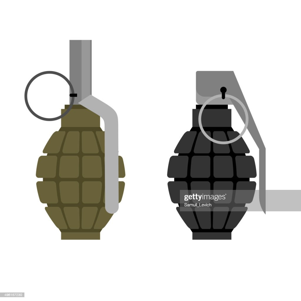 Military grenade. Set of military hand grenade: green and black.