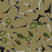 military gun seamless pattern, automatic and hand weapon in magazine barrel with bullets for protection shoting or war texture, handgun for hunting and police equipment background vector illustration