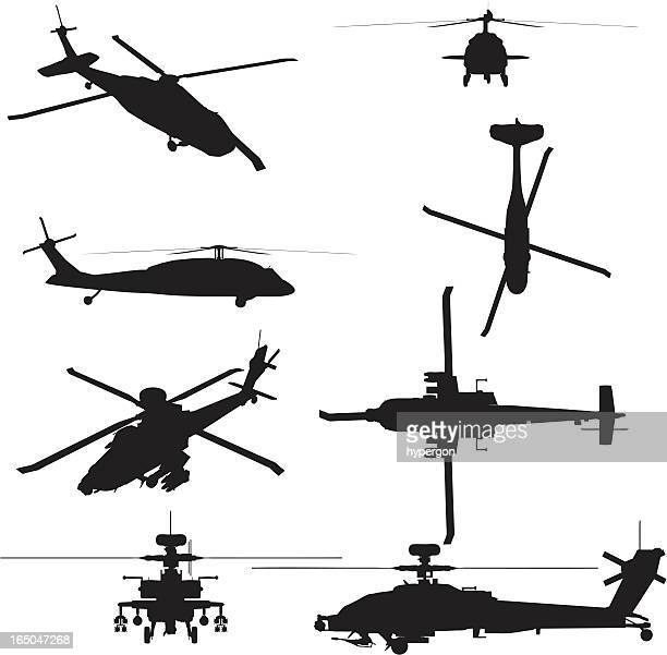 military helicopter silhouette collection (vector+jpg) - apache helicopter stock illustrations