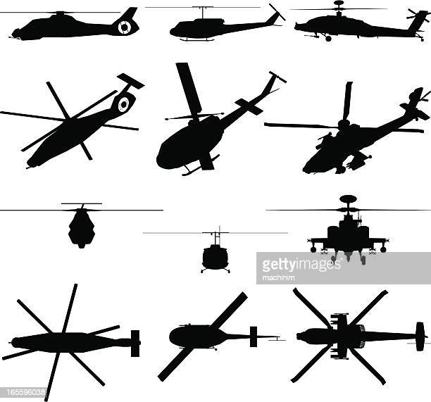 military helicopter silhouette - special forces stock illustrations, clip art, cartoons, & icons
