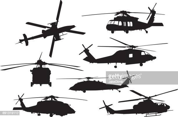 military helicopter silhouettes - helicopter stock illustrations