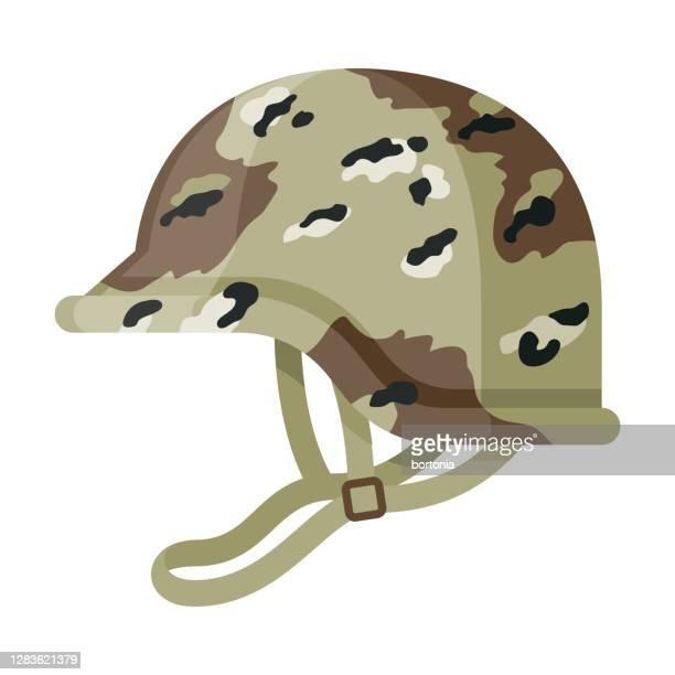 military helmet icon on transparent background - army helmet stock illustrations