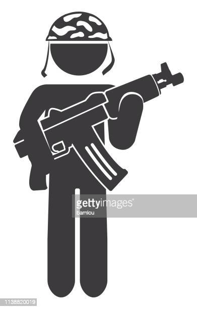 military holding ak47 icon - sniper stock illustrations, clip art, cartoons, & icons