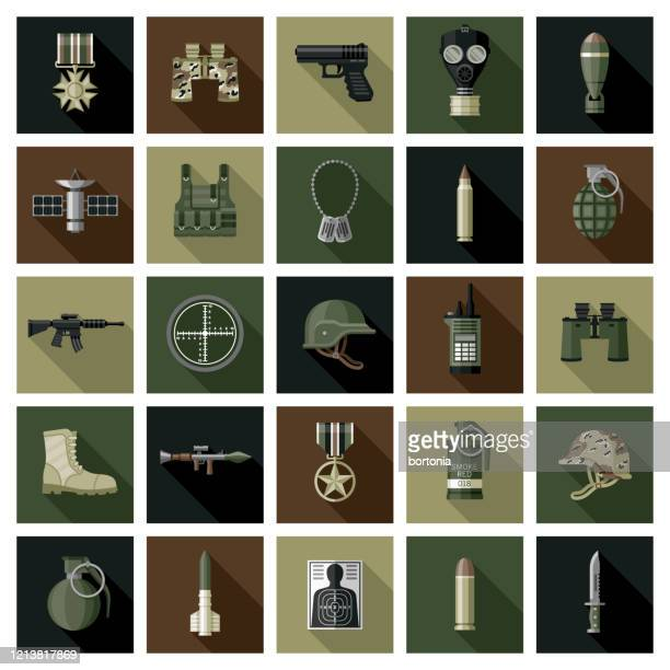 military icon set - army stock illustrations