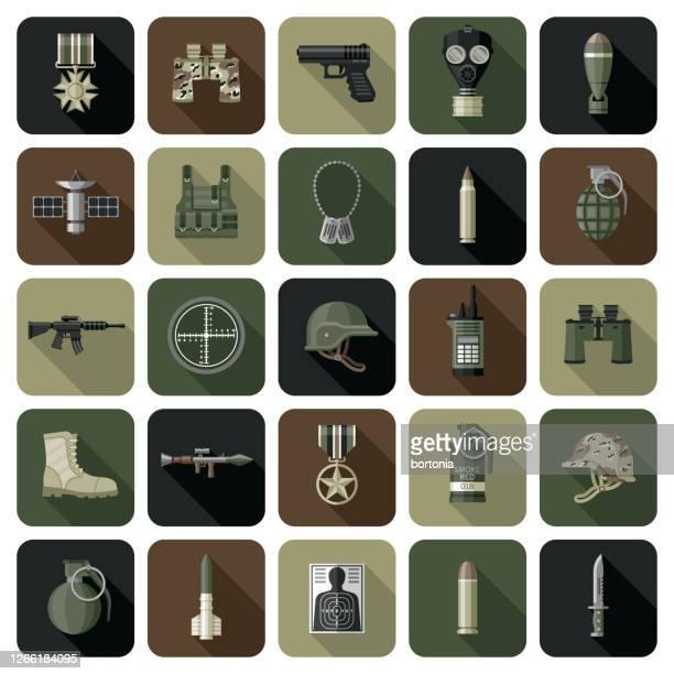 stockillustraties, clipart, cartoons en iconen met militaire pictogram reeks - combat sport