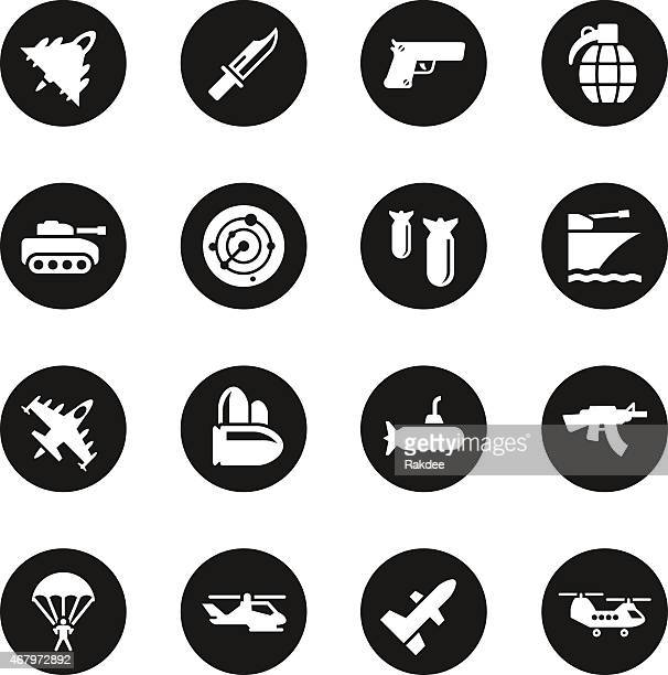 military icons - black circle series - military stock illustrations, clip art, cartoons, & icons