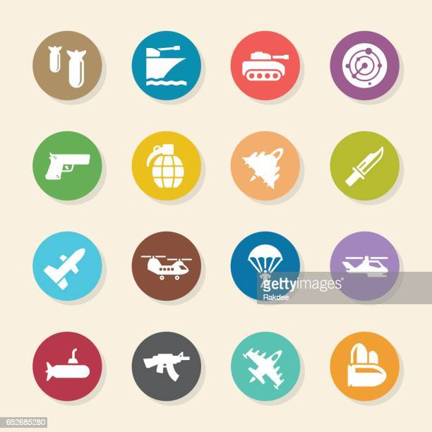 military icons - color circle series - military stock illustrations, clip art, cartoons, & icons