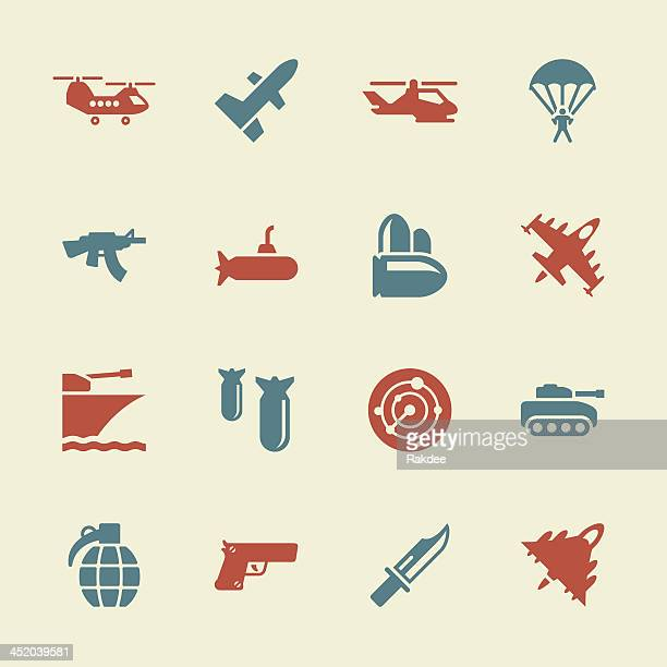 military icons - color series | eps10 - military stock illustrations, clip art, cartoons, & icons