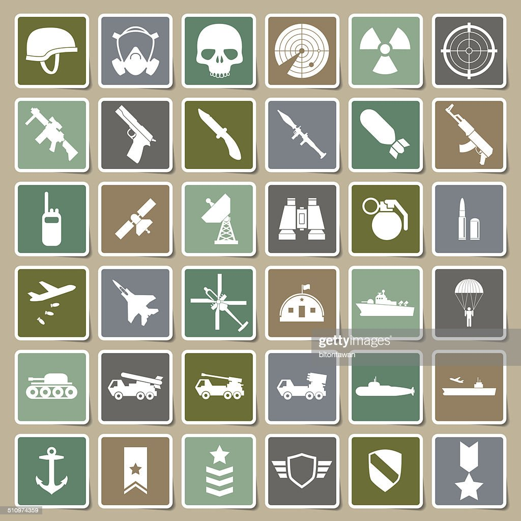 Military icons Sticker set