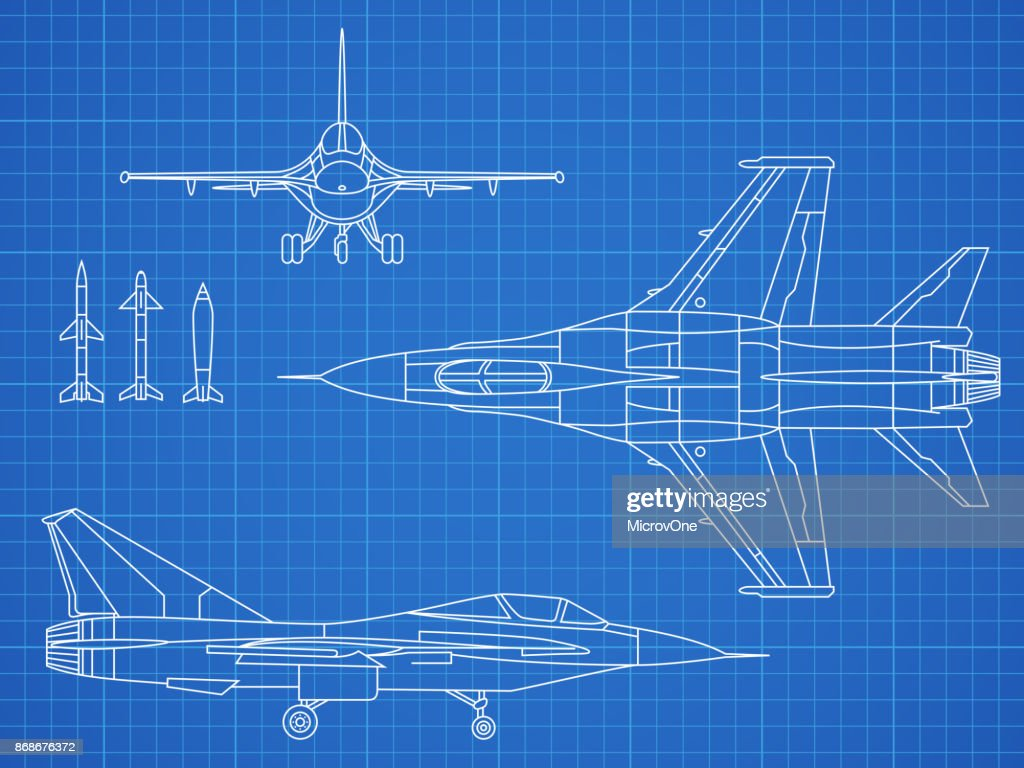 Military jet aircraft drawing vector blueprint design