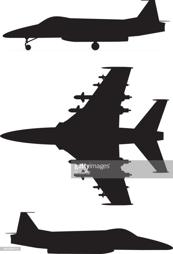 Military jet plane silhouette