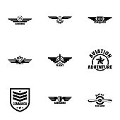 Military label icons set, simple style