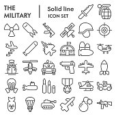Military line icon set. Army signs collection, sketches, logo illustrations, web symbols, outline style pictograms package isolated on white background. Vector graphics.