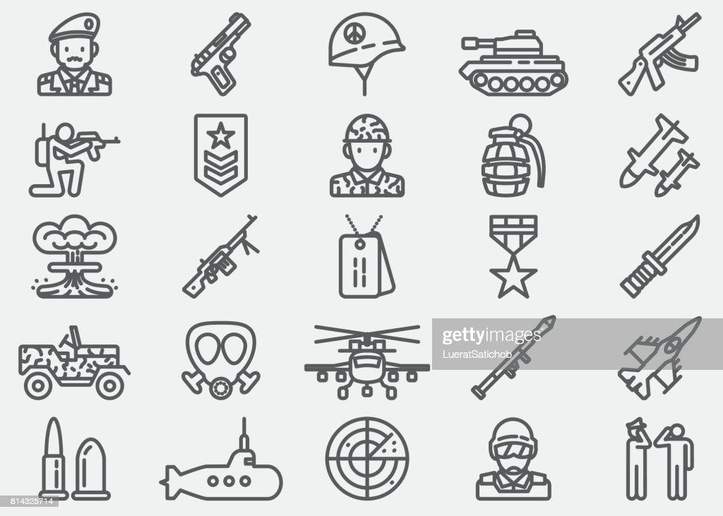 Military Line Icons : stock illustration