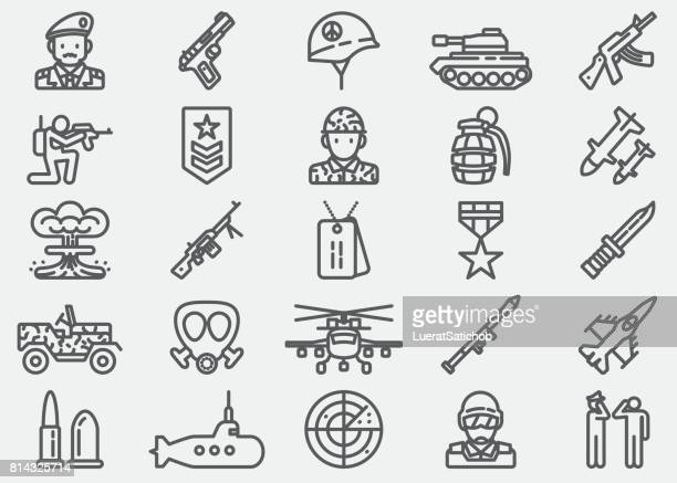 military line icons - war stock illustrations