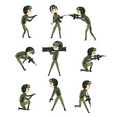 Military man in various actions set, soldier characters in camouflage uniform, military profession cartoon vector Illustration on a white background