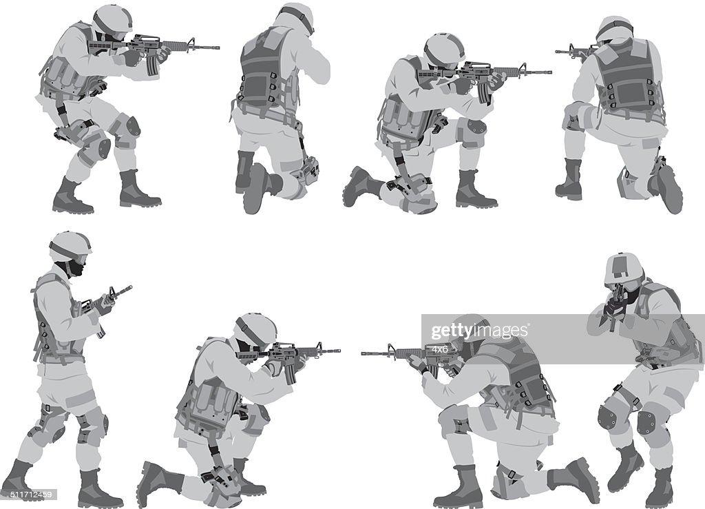 Military man in various poses