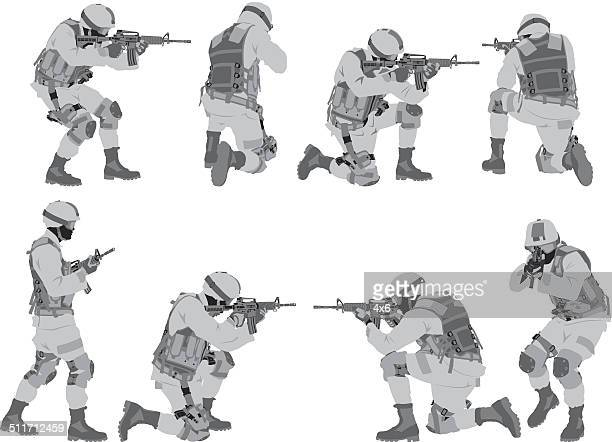 military man in various poses - special forces stock illustrations, clip art, cartoons, & icons