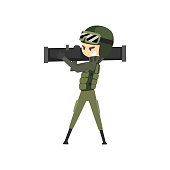 Military man with bazooka, soldier character in camouflage uniform cartoon vector Illustration on a white background