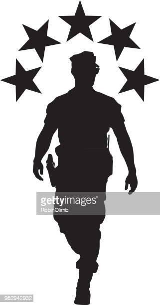 military man with stars silhouette - marines military stock illustrations, clip art, cartoons, & icons