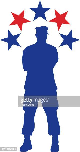 military man with stars - marines military stock illustrations, clip art, cartoons, & icons