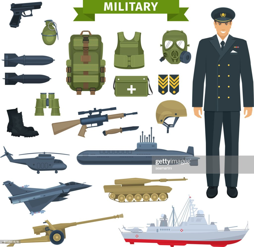 Military man with weapon, personal equipment icon