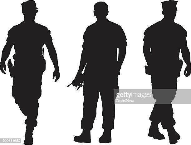 military men silhouettes - marines military stock illustrations, clip art, cartoons, & icons