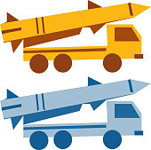 Military missile vehicle cartoon silhouette