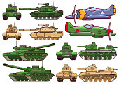 Military modern tank.Armored army combat vehicle.Artillery cannon.Old military aircraft fighter american.