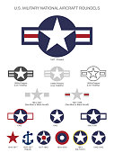 U.S. Military National Aircraft Star Roundels, isolated vector illustration