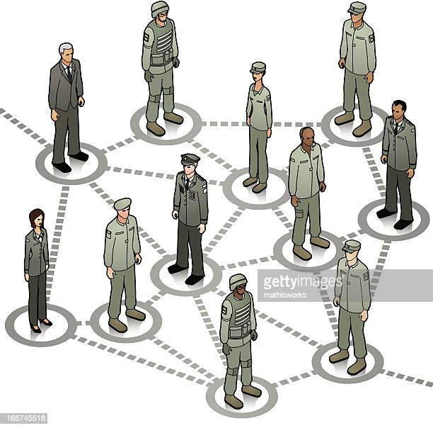 military network - army stock illustrations, clip art, cartoons, & icons