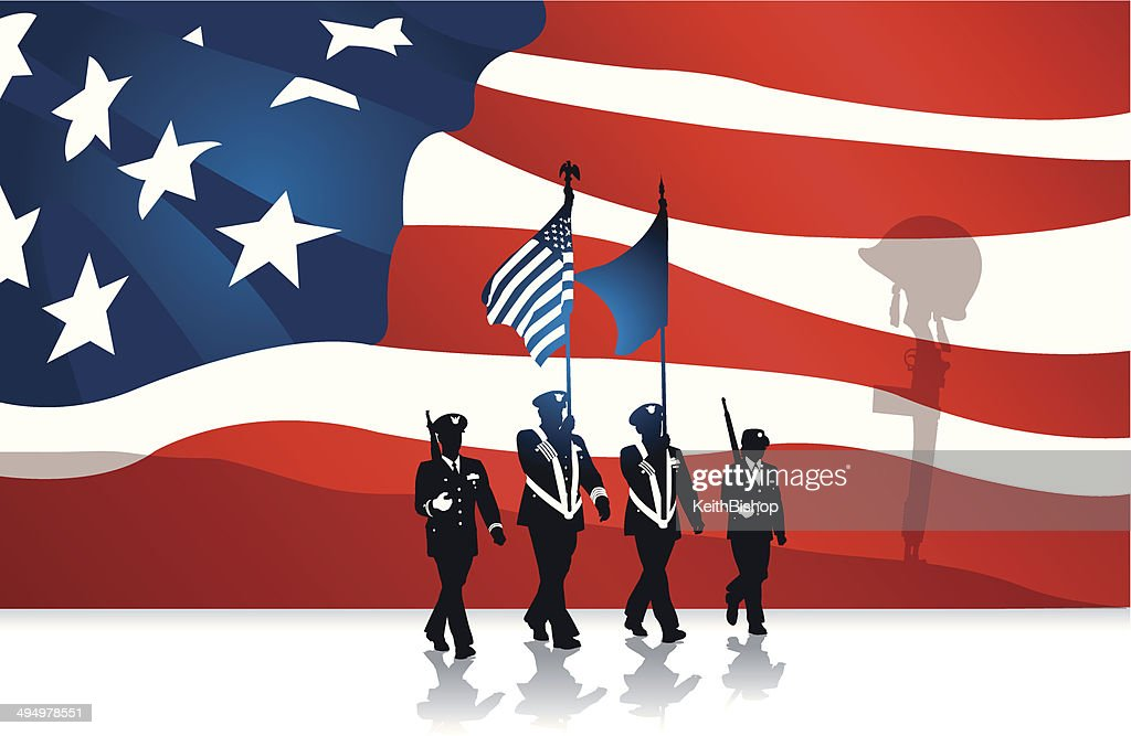 Military Parade Fallen Soldier And American Flag Background