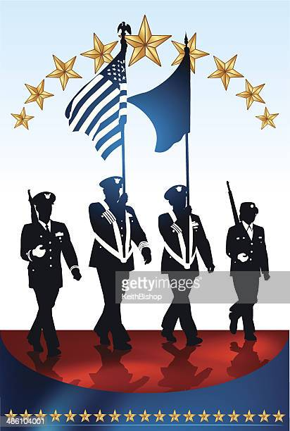 military parade soldiers, american flag - parade stock illustrations, clip art, cartoons, & icons